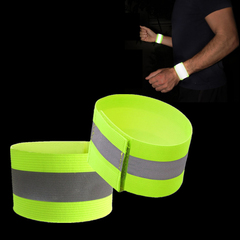 1pcs Band Reflective High Visibility Elastic Wristbands Ankle Wrist Arm Cycling Night  Warning one size yellow