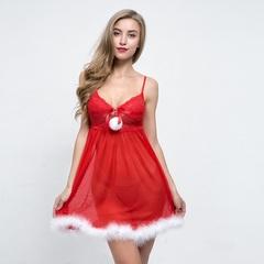Hot Sexy Christmas women Sleepwear dress Red Women party mini dress xmas gift s red