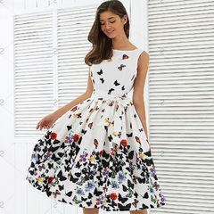 Women Fashion  Vintage Pleat Swing Dresses Summer Sleeveless Zipper Sashes Dress Retro Party Dresses m one color