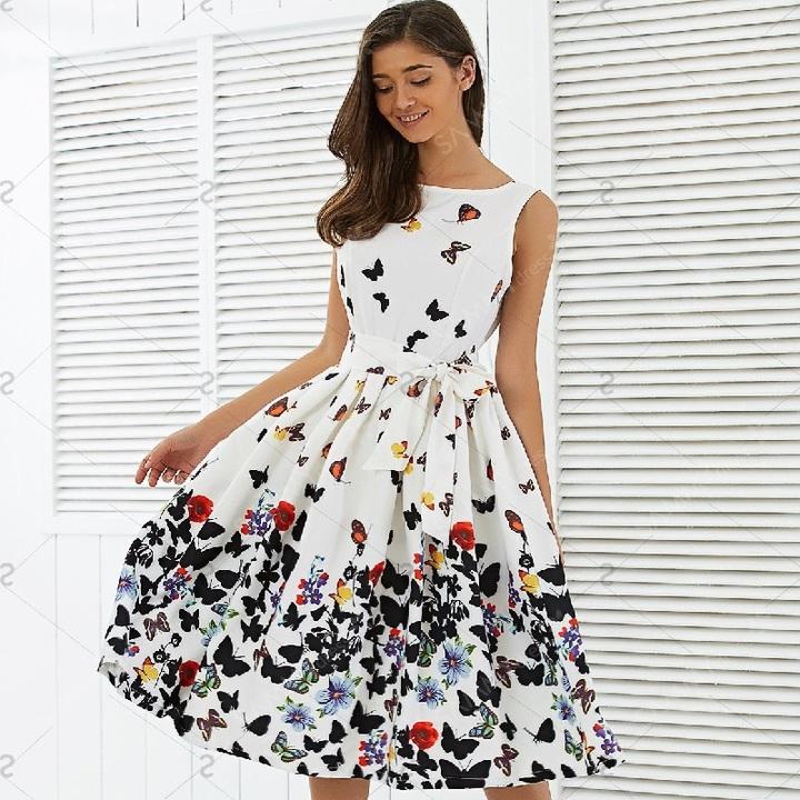 Women Fashion  Vintage Pleat Swing Dresses Summer Sleeveless Zipper Sashes Dress Retro Party Dresses m one color