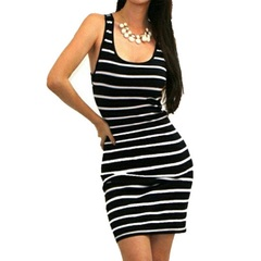 Sleeveless Striped Sexy Party Sleeveless Brief Mini Dress Fashion Women Ladies Clothing Dress s black
