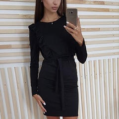 Solid Ruffles Sashes Bodycon Dress Long Sleeve O-Neck Women Casual Dress Sexy Party Mini Dresses s black