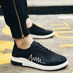 Canvas tide han edition board mens shoes  cloth shoe is recreational lightning sport  runs shoes black 39
