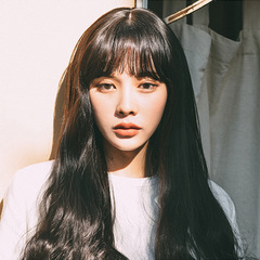 Korean wigs ladies long curly hair fashion air straight straight bangs full head black as picture
