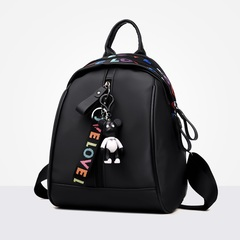 New backpacks women's fashion trend all-purpose casual canvas schoolbag ladies travel small handbags black 22.5*7.5*29CM