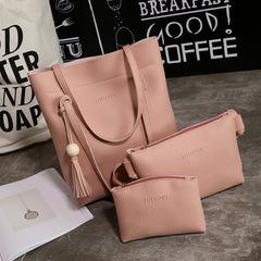3pcs/New mother-in-law shoulder slung big bag wooden beads tassel three-piece handbags pink 31*33*10cm