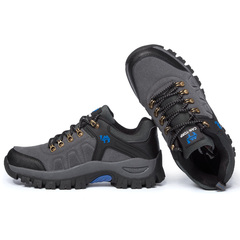 2018 Outdoors Men Hiking Shoes Suede Working Fur Warm Ankle Boots Leather Large size bule gray 36