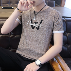 Short Sleeve T Shirt Men O Neck Polyester Men's TShirt Summer Tee Shirts Homme W letter Khaki M(45-50kg/160-170cm) Polyester+Cotton
