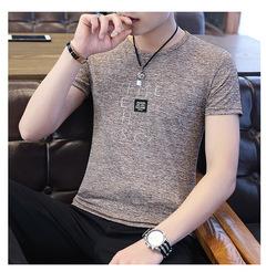 Short Sleeve T Shirt Men O Neck Polyester Men's TShirt Summer Cool  Plus Size khaki m(45-50kg/160-170cm) polyester+cotton