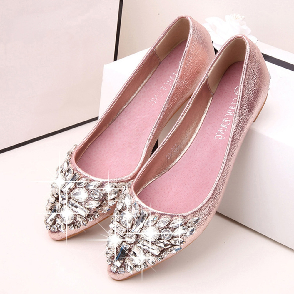 96a66e1ee Fashion women Ballet leisure pointy ballerina bling Rhinestone flats ...