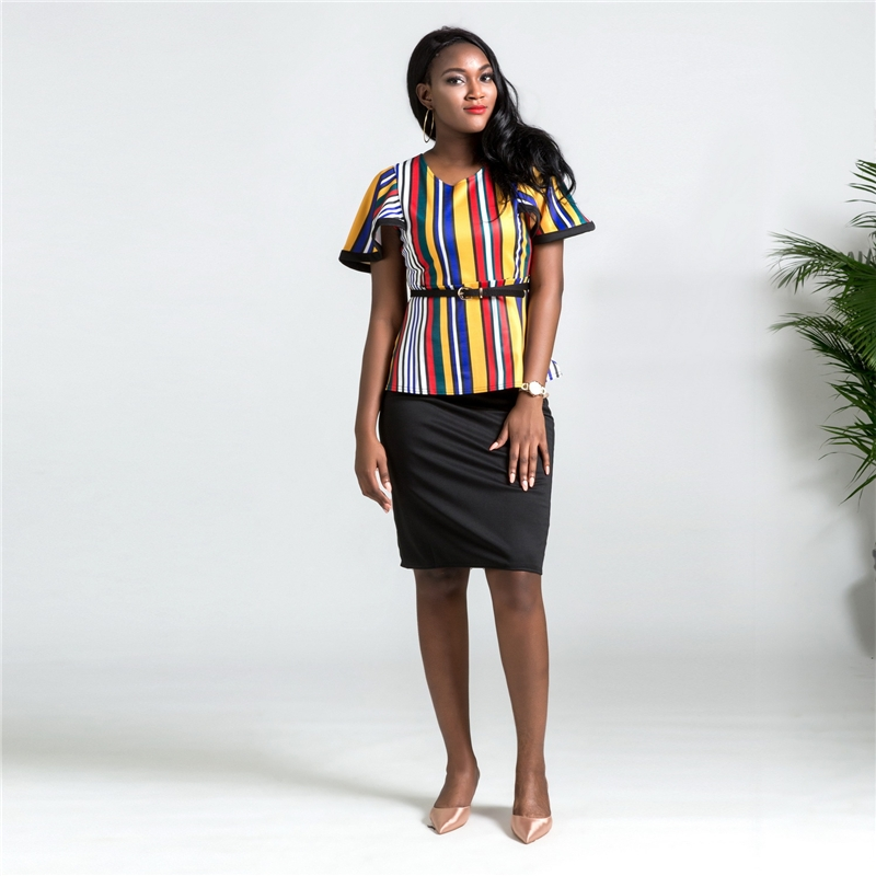5a9c89acc Item specifics: Brand: Penzi High-quality Color stripe lotus leaf sleeve half  skirt suit formal work wear ...
