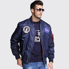 Mens Wear casual jacket blazer vertical collar NASA Air Force American Pilot Male trench Sport Suit dark blue m