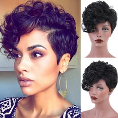 New Fashion Short Human Hair Handsome Women Wig Caps Headset Short Curls Wigs With Frontal Bangs 2# one size