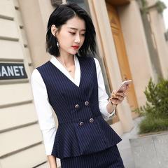 Women Business Interview Suits Formal stripe Uniform Office Ladies Vest Skirt Trouser 2 3pieces Set vest s