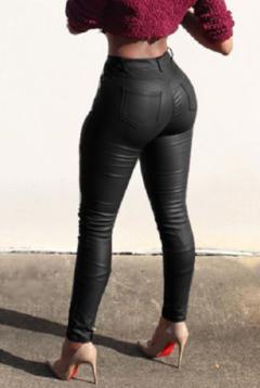 Autumn women leather pants High Waisted elastic shiny trousers slim female pencil leather pants black s