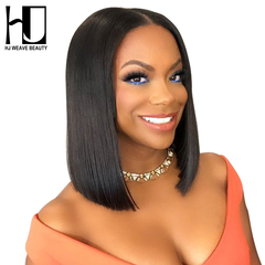 Short Lace Front Human Hair Wigs Brazilian Remy Hair Bob Wig with Pre Plucked Hairline Lace Wig black 14inches