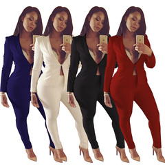 Two piece Pant Suits long sleeve Casual Sexy Jacket+long trouser 2 Piece Set  elegant outfit Black M