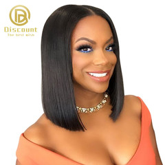 Short Lace Front Human Hair Wigs Brazilian Remy Hair Bob Wig with Pre Plucked Hairline Lace Wig black one