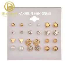 12 pairs / set earrings jewelry women's fashion accessories rhinestones and pearl earrings jewelry golden one size