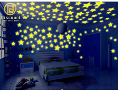100Pcs/Bag Stars Decal Glow Fluorescent 3D Wall Stickers Home Decor green yellow one size