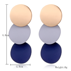 Pearls and jewels; jewelrySmall disc wind bell Fashion Earrings trend Round Earrings blue normall