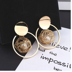 Ring hollow gold skein pearl pendant earrings female personality exaggerated tide net red earrings gloden one size