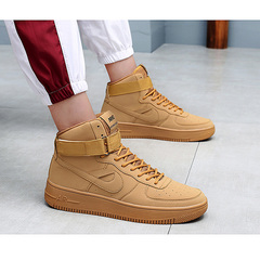 Waroom Nike air force1 men's shoes aj1  gray plate shoes wild sports shoes, couple Sneakers Wheat 35