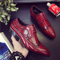 Large size men's Brock carved shoes men's leather business Dress shoes Red wine 46 leather