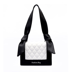 2019 new fashion wave rhombic chain thread Shoulder Bags Cross body versatile bag Handbag, woman bag Black+white one size21*21*15cm