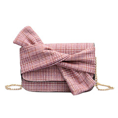 Female small bag  New fashionable joker bow shoulder small square bag crossbody bag pink one size15*21*7cm