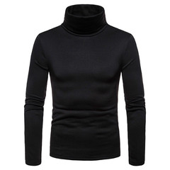 MSFS2018 New Autumn and Winter Fashion Turtle Neck Long Sleeve T-shirt Men's T-shirt black S Cotton kind of blended