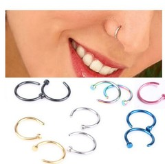 Titanium Steel Nose Nipple Fake Nose Rings Hoop for Septum Piercing Clip Punk Women Body Jewelry blue 6mm