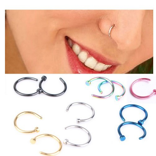 Titanium Steel Nose Nipple Fake Nose Rings Hoop for Septum Piercing Clip Punk Women Body Jewelry blue 10mm