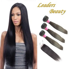 10A Brazilian Virgin Human Hair  Straight Hair Weave Extension 100g/pc with  Lace Closure free part 10 10 10+8