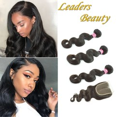 10A Virgin Human Hair Body wave Hair Weave Extension 100g/pc with Lace Closure natural black 26 26 26+18
