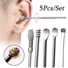 5 Pcs/Lot Spiral Ear Pick Spoon Ear Wax Removal Cleaner Ear Beauty Tools Multifunction Portable steel