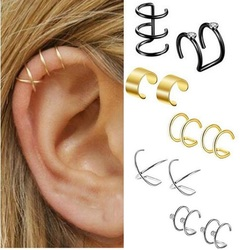Fake Piercing Earrings Ear Cartilage Clip-On Ring Helix Piercings Non Pierced Clip Body Piercings black style c