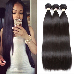 Straight Bundles Brazilian Hair Weave Bundles Human Hair Bundles With Closure Hair Extension Natural color 1b 12inch bundle 1pc