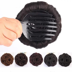 Synthetic Fiber Chignon Nine flowers Hair Women Curly Chignon Hair Bun Donut Clip In Hairpiece natural black With Pearls