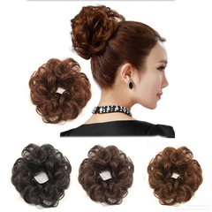 1pc Synthetic Hair Wig Rubber String Flower Curly Hair Fluffy Meatball Head natural black one size