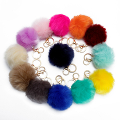 Pompons Keychains Faux Rabbit Fur Keychain Fluffy Key Chains Trinkets Keychain(Silver Color Chain) yellow silver chain 5pcs/set