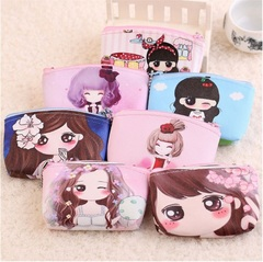 Fashion Women Girls Leather Cartoon Wallet Small Wallet Lovely Prints Girl Coin Purse Clutch Canvas style B one size