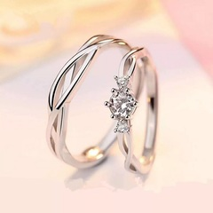 Romantic Wedding Ring Lover Luxury Silver Couple Rings Jewelry Gift For woman Man Adjustable sliver 1 couple