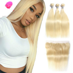 Leaders beauty 613 Blonde Brazilian Hair Bundle Straight Weave Remy Human Hair Weft 613 Blonde 16''+18''+20'' 3pcs total