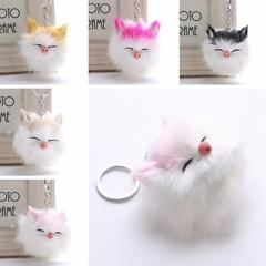Kawaii Kitten Cat Fur PomPom KeyChain Fake Rabbit Hair Bulb Bag Ball Key Chain Pendant Porte Clef Random color