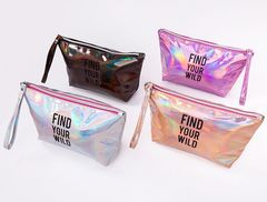 Women Travel Cosmetic Bag Laser Makeup Bags Zipper Make Up Handbag Organizer Storage Case Pouches purple