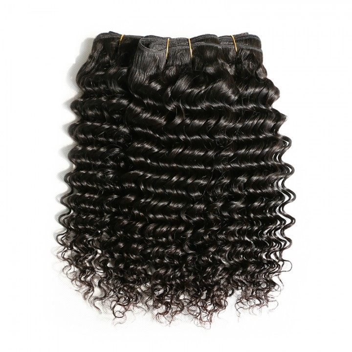 AOOTUS 100% Human Hair Brazilian Deep Wave Virgin Human Hair 1pcs/100g black 12