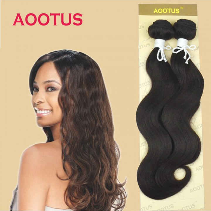 AOOTUS Synthetic Hair Extensions Body wave 14 Inch #4(deep brown) 2 pcs 120g