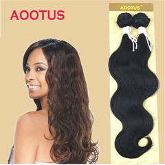 AOOTUS Synthetic Hair Extension: Body wave, 16 Inch Black NO.1