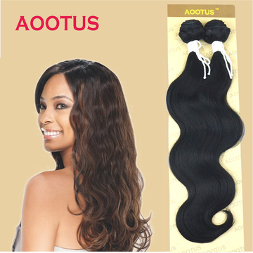 AOOTUS Synthetic Hair Extensions: Body wave, 14 Inch Black NO.1